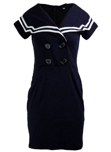 Short Sleeve Sailor Nautical Rockabilly Double Button Women's Dress - Small