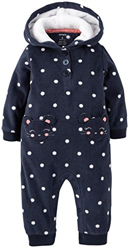Carter's Baby Girls' Fleece Hooded Romper (Baby) - Mouse