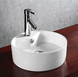 ELANTI EC9869 Porcelain White Above Counter Round Bowl Sink