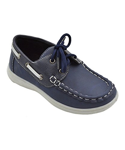 CoXist Boy's Suede PU Boat Shoe (Big Kid/Little Kid/Toddler) in Navy Size: 8 Toddler