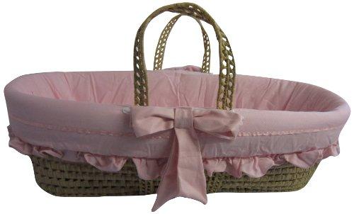Baby Doll Satin Trim Moses Basket, Pink
