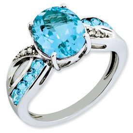 Genuine IceCarats Designer Jewelry Gift Sterling Silver Diamond & Light Swiss Blue Topaz Ring Size 10.00