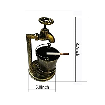 Retro Decoration Accents Cigarettes Cigars Bionic Design Faucet Bucket Ashtray Suit For Home Bar Office Or Use For Brush Pot Storage Containers ,Metal,Cinnamon