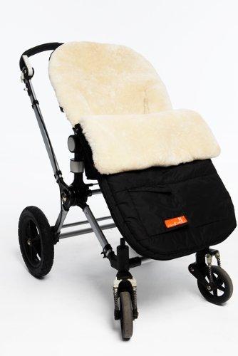 Snuggle Pod Footmuff Color: Buttermilk Sheepskin / Black Shell front-212782