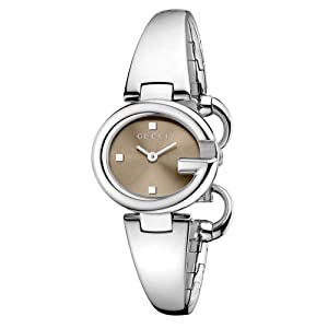 Gucci Guccissima Collection Women's Quartz Watch with Brown Dial Analogue Display and Stainless Steel Bangle YA134503