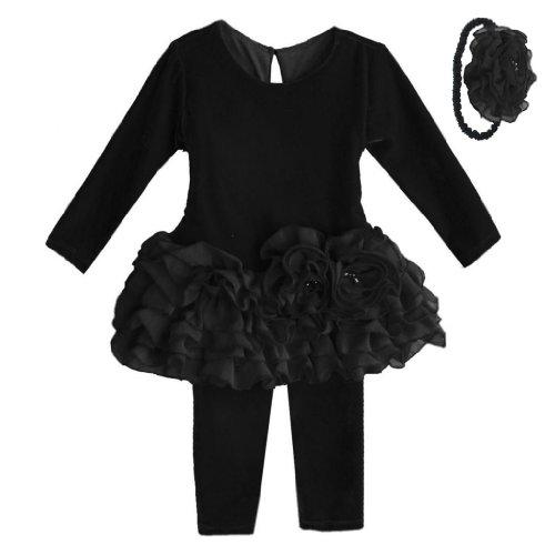 Isobella & Chloe Leslie Dress, Leggings & Headband. Black. Size 18M.