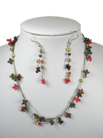 Red Bead Three Row Necklace and Drop Earrings Set