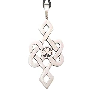 Irish Shamrock Celtic Pattern Pewter Pendant Necklace
