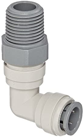 John Guest Acetal Copolymer Push-To-Connect Tube Fitting, Swivel Elbow, Tube OD x NPTF Male (Pack of 10)