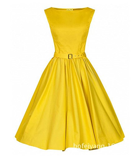 4a82dc23223 Vintage Style 50s 60s Sleeveless High Waist Pin up Rockabilly Dress with  Belt Yellow (Tag L)