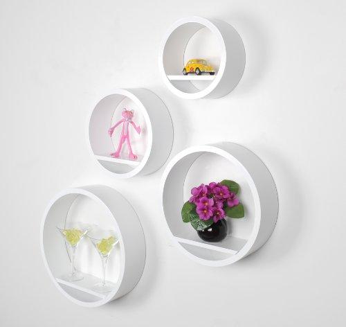 Set di 4 mensole da parete a cerchio lounge design in stile retró ...