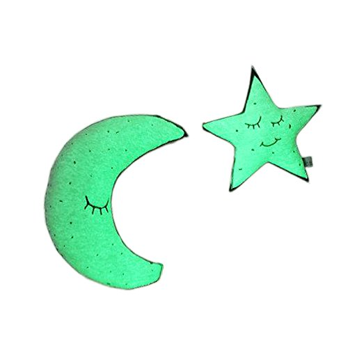 Sam's Fishing Glow in the Dark Bright Light Twinkling Star Moon Baby Bed Pillows Decoration Soft Bulb Plush Luminous Cushion Pillow Toy