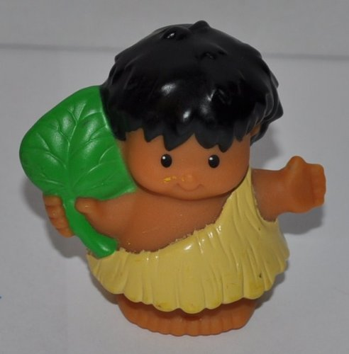 Little People - Caveman Boy holding Leaf from 2006 - Replacement Figure - Classic Fisher Price Collectible Figures - Zoo Circus Ark Pet Prehistoric Dinosaur - 1