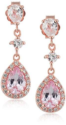 Rose-Gold-Plated-Sterling-Silver-Pear-Shape-Created-Pink-Sapphire-and-Created-White-Sapphire-Drop-Earrings