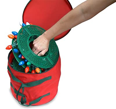 Set of 5 Christmas Light Storage Reels with Red and Green Polyester Zip Up Bag