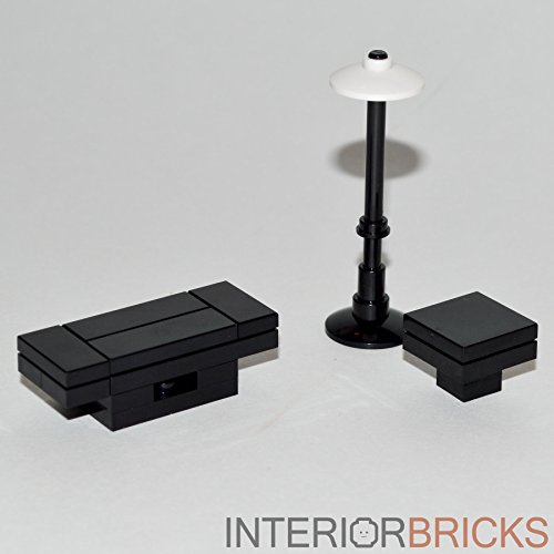 LEGO Furniture: Black Seating Table Set Coffee & Side Table + Lamp