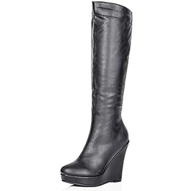 Amazon.com: Spy Love Buy LENA Wedge Heel Stretch Platform Knee High