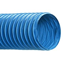 "Hi-Tech Duravent CVD Series PVC Duct Hose, Wire Reinforced, Blue, 16"" ID, 25' Length"