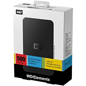 Western Digital WDBAAR5000ABK Elements portable 500GB externe Festplatte (6,4 cm (2,5 Zoll), 5400rpm, ms, 8MB Cache, USB) schwarz