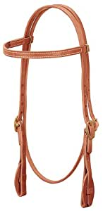 Weaver Leather ProTack Quick Change Browband Headstall Features Leather Tab Bit Ends, Russet
