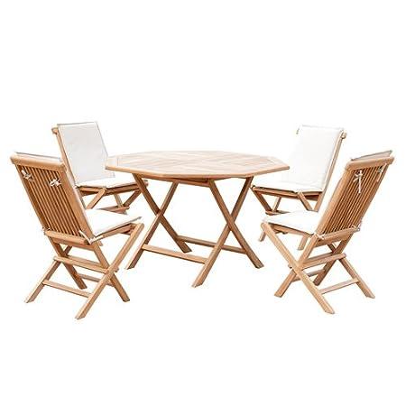 5er-Set Gartenmöbel aus Teak-Holz, Tisch Ø 120cm, 4x Klappstuhl mit Kissenauflage, Sitzgruppe, zusammenklappbar, B-Ware Neu, Ausstellungsstuck, unbenutzt, kleine Menge,Retourware