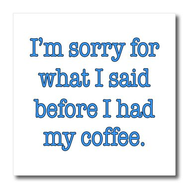 Evadane - Funny Quotes - Im Sorry For What I Said Before I Had My Coffee, Blue - Iron On Heat Transfers - 6X6 Iron On Heat Transfer For White Material (Ht_178135_2)