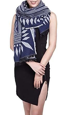 charpe hiver femme foulard grande taille ch le cache col r versible franges motifs bleu blanc. Black Bedroom Furniture Sets. Home Design Ideas