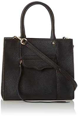 Rebecca Minkoff Saffiano MAB Tote Mini Cross-Body Handbag Bag,Black,One Size