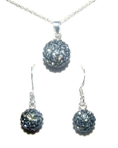 Stylish Pewter Swarovski Crystals and Sterling Silver925 Necklace and Drop Earring Set. A great gift!