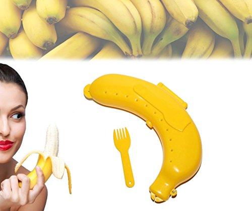 Contenitore astuccio porta banana da asporto box safe con fori d'areazione e pratica forchettina. MWS