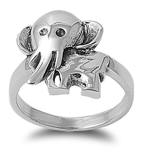 Sterling Silver Woman'S Elephant Cute Fashion Ring Unique Comfort Fit Band 17Mm Size 10 Valentines Day Gift