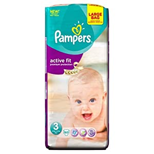 Pampers Active Fit Size 3 (Midi) Large Pack - 60 Nappies
