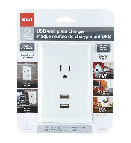 Audiovox Rca-Wpw2Uwr White Wall Plate With 2 Usb