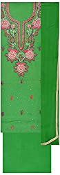 Simran Silk Store Women's Cotton Silk Unstitched Dress Material (Green)