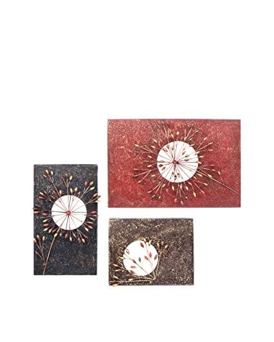 C'Jere By Artisan House Blossoms Set of 3 Metal Wall Installation, Multi