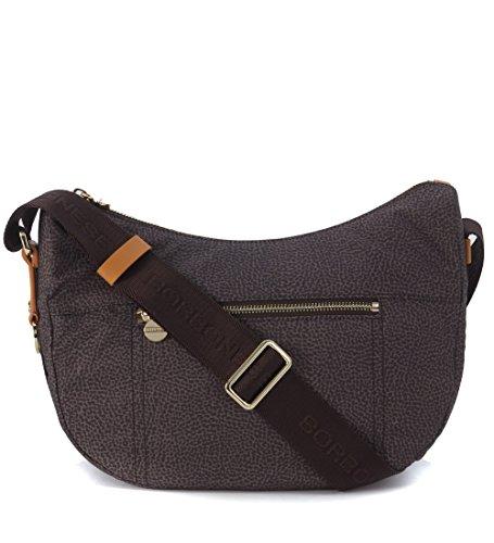 Borsa a spalla Borbonese Luna Bag small in jet tundra con tasca