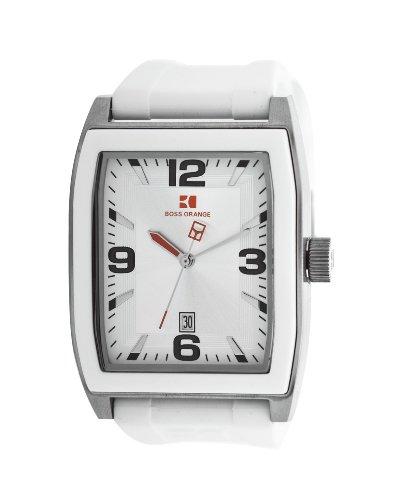 Hugo Boss Orange Silver Dial White Rubber Mens Watch 1512684