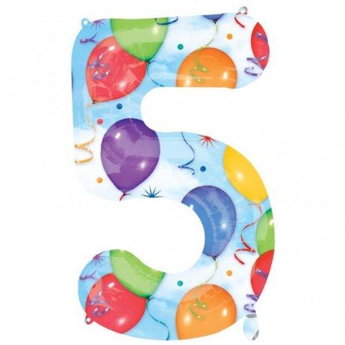"""Amscan 21/53 x 34 """"/ 86 cm Numéro 5 Super ballon en forme de serpentins"""