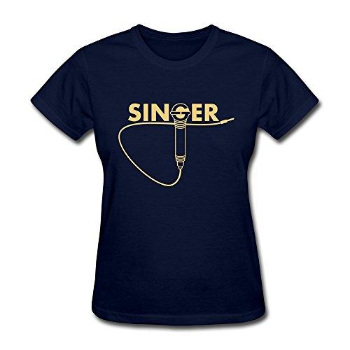 Vansty Singer 100% Cotton T-shirt For Women Navy Size L