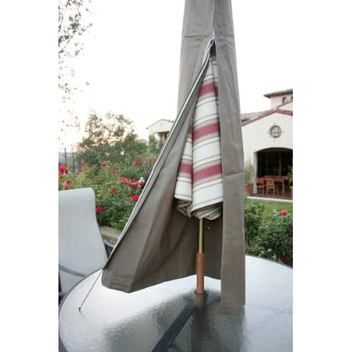 Premium Tight Weave Outdoor Patio Umbrella Cover - Heavy Duty UV Treated and Water-Resistant Fabric - Fits 7 to 11 feet Umbrellas - Taupe