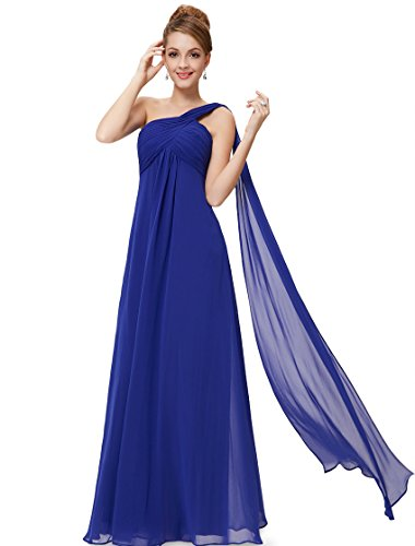 Ever Pretty Womens One Shoulder Floor Length Evening Dress 4 US Sapphire Blue