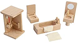 CraftDev Solid Wood Miniature Dollhouse Bathroom Furniture