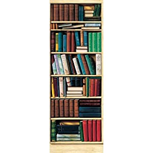 36x100 bibliotheque library huge wall mural door kitchen dining. Black Bedroom Furniture Sets. Home Design Ideas