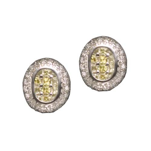 C.Z. YELLOW CITRINE OVAL SQUARE RHODIUM PLATED (.925) STERLING SILVER EARRINGS (Nice Holiday Gift, Special Black Firday Sale)