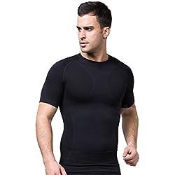 iisport Camiseta de Compresión con Mangas de Running T-Shirt de Fitness Short Sleeve de Deporte Buena Sujeccion Chaleco Corsé Tirante Comodidad Cómoda Elástica Absorbe el Sudor para Hombre Negro Talla L