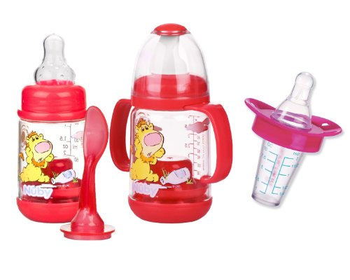 Infant Printed Bottle Feeder with Munchkin Medicator - Pink (Printed Baby Bottles compare prices)