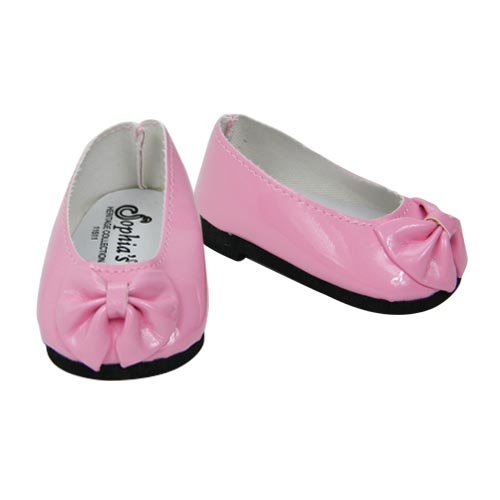 18 Inch Pink Doll Shoes, Patent Bow Shoe Fits American Girl Dolls, Patent Bow Slip On Shoe in Light Pink