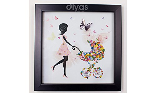 Framed Crystal Wall Art Of Mother With Floral Embellished Pram By Haysom Interiors front-30300