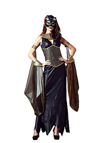 [GoLoveY Women's Cleopatra Costume Egyptian Goddess Halloween Outfit] (Cleopatra Outfit)