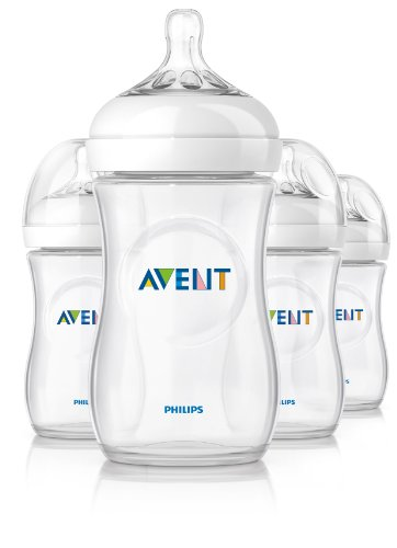 Philips AVENT Natural Polypropylene Bottle, Clear, 4 Pack